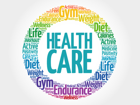 nursing department: Health care circle stamp word cloud, fitness, sport, health concept