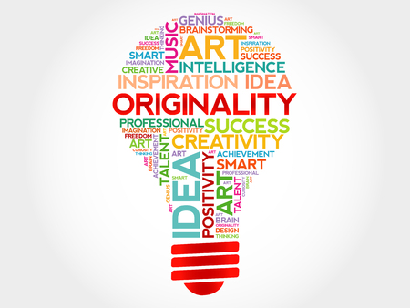 originality: Originality bulb word cloud concept Illustration