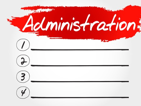 ADMINISTRATION blank list, business concept Illustration