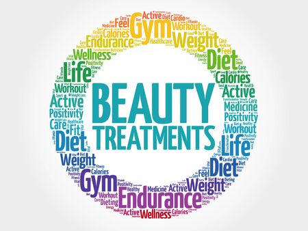 spa collage: Beauty Treatments circle stamp word cloud, health concept Illustration