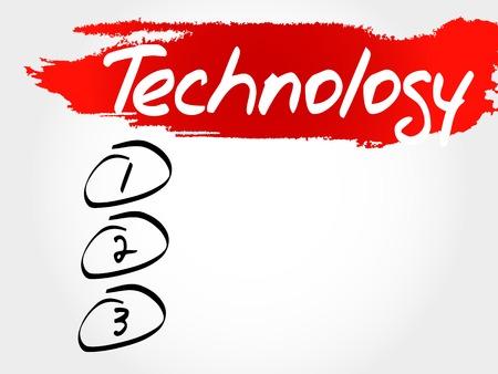 synchronizing: TECHNOLOGY blank list, business concept Illustration