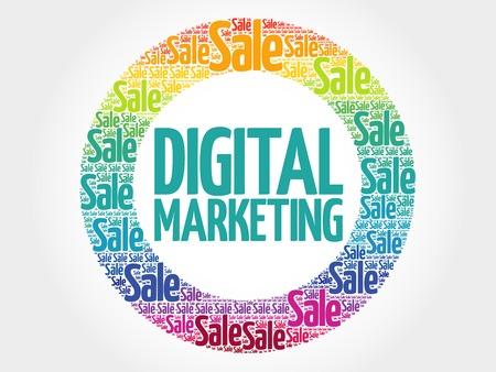 decoding: Digital Marketing stamp words cloud, business concept background