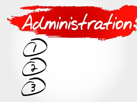 business administration: ADMINISTRATION blank list, business concept Illustration