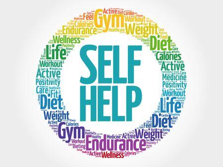 self help: Self Help circle stamp word cloud, health concept
