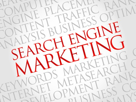 search engine optimized: SEM - Search Engine Marketing word cloud, business concept Illustration