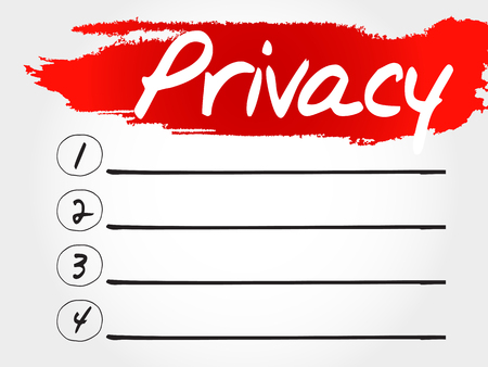 secret identities: PRIVACY blank list, business concept Illustration