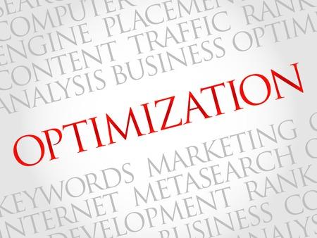 keywords backdrop: OPTIMIZATION word cloud, business concept