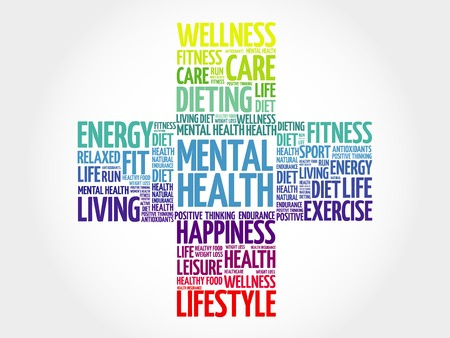 mentally: Mental health word cloud, health cross concept