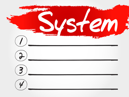 allocation: SYSTEM blank list, business concept Illustration