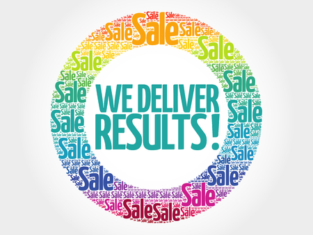 results: We deliver results! words cloud, business concept background