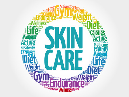 spa collage: Skin care circle stamp word cloud, fitness, sport, health concept Illustration