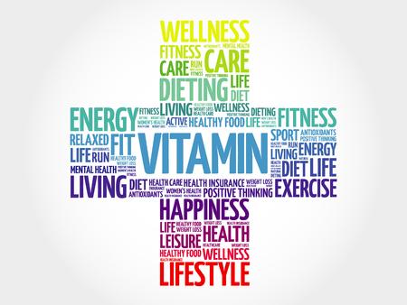 oxidative: VITAMIN word cloud, health cross concept