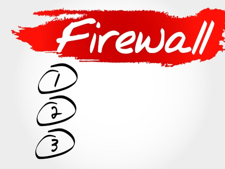 malicious software: FIREWALL blank list, business concept Illustration