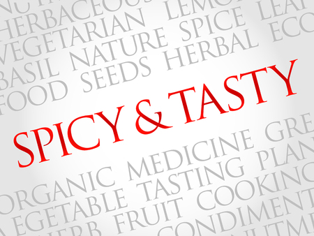tasty: Spicy and tasty word cloud, health concept Illustration