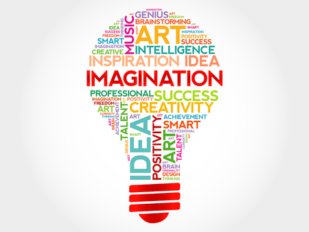 perceive: Imagination bulb word cloud concept