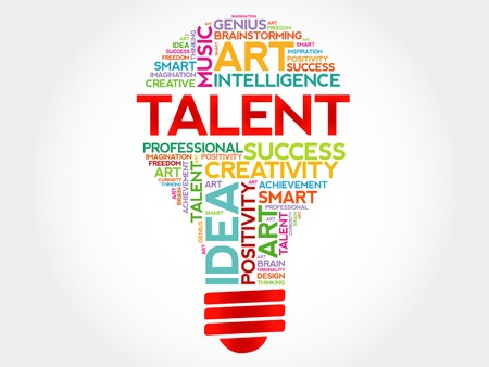 Talent bulb word cloud concept