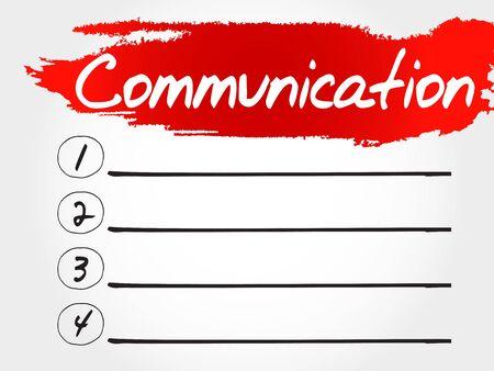 communication concept: COMMUNICATION blank list, business concept