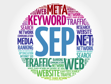 cloud search engine: SEP - Search Engine Positioning word cloud, business concept Illustration