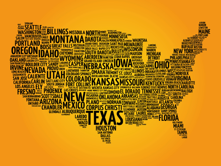 patriotic america: USA Map word cloud with most important cities