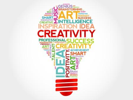 Creativity bulb word cloud concept Иллюстрация