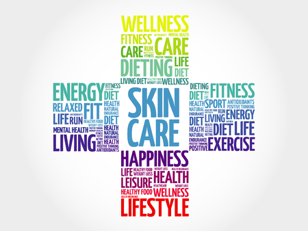 spa collage: Skin care word cloud, health cross concept