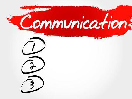 business communication: COMMUNICATION blank list, business concept