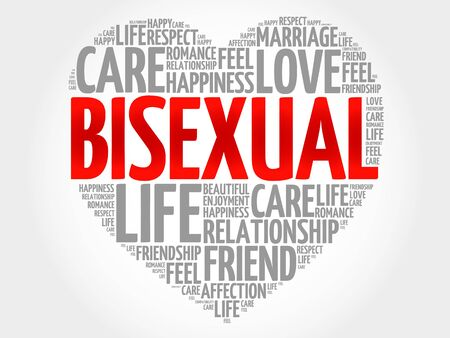 bisexuality: Bisexual concept heart word cloud