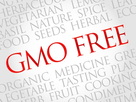genetically modified crops: GMO FREE word cloud, health concept