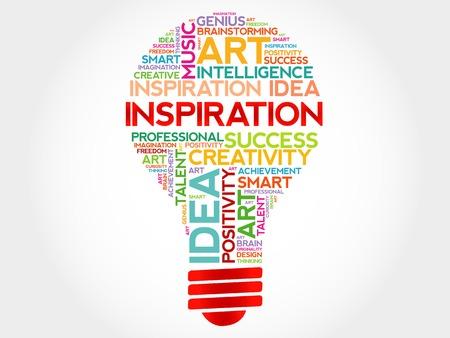 Inspiration bulb word cloud concept Illustration