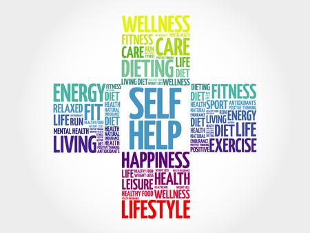 Self Help word cloud, health cross concept 矢量图像