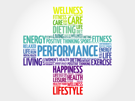 performed: PERFORMANCE word cloud, health cross concept