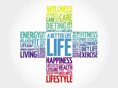 joyous life: A Better Life word cloud, health cross concept