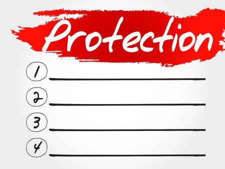 secret word: PROTECTION blank list, business concept