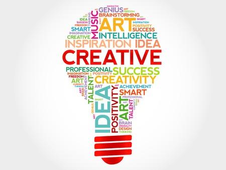 Concept de nuage de mot ampoule Creative Vecteurs
