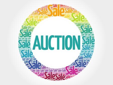 direct sale: AUCTION stamp words cloud, business concept background Illustration