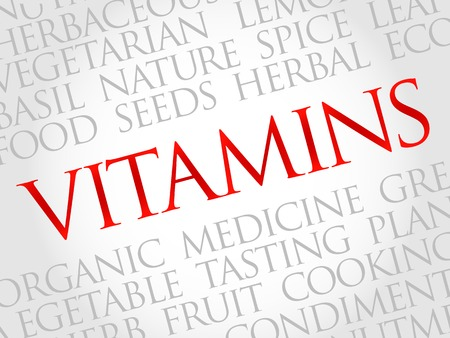 ascorbic: Vitamins word cloud, health concept Illustration