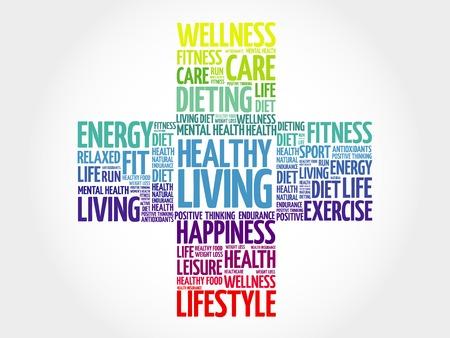 healthy living: Healthy Living word cloud, health cross concept