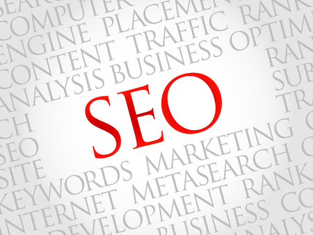 optimizing: SEO (search engine optimization) word cloud business concept