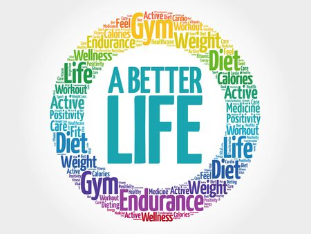 live feeling: A Better Life circle stamp word cloud, health concept