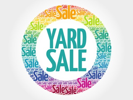 yards: YARD SALE stamp words cloud, business concept background