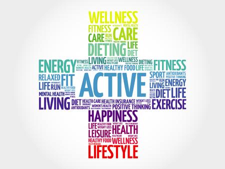 physique: ACTIVE word cloud, health cross concept