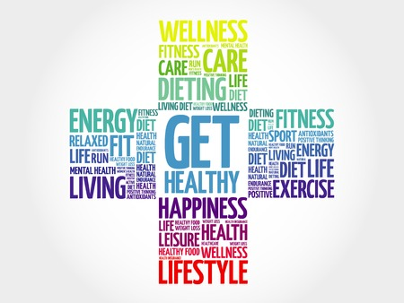 Get Healthy word cloud, health cross concept