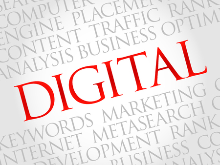 marketers: DIGITAL word cloud, business concept Illustration