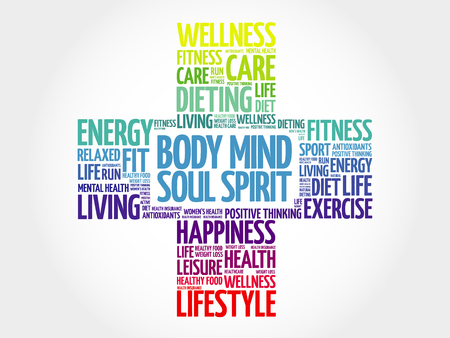 Body Mind Soul Spirit word cloud, health cross concept