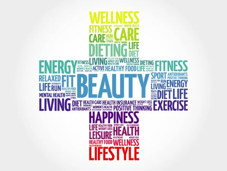 beuty: BEAUTY word cloud, health cross concept