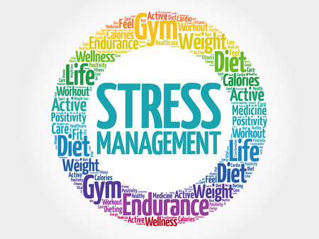 transactional: Stress Management circle stamp word cloud, health concept Illustration