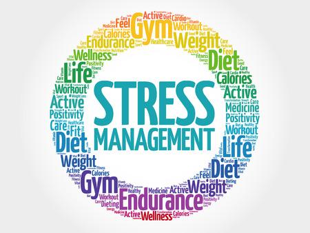representations: Stress Management circle stamp word cloud, health concept Illustration