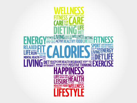 the calories: CALORIES word cloud, health cross concept