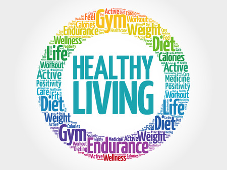Gezond Leven cirkel stempel woord wolk, gezondheid concept