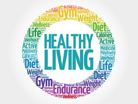 Healthy Living Kreis Stempel Wort Wolke, Gesundheitskonzept